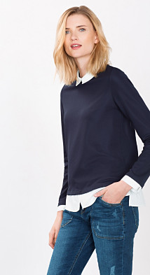 2-in-1 ribbed top with blouse details